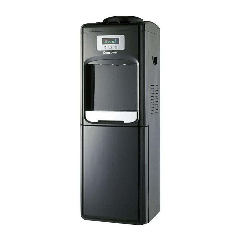 Dispenser de agua fría & caliente de pie con heladera digital negro