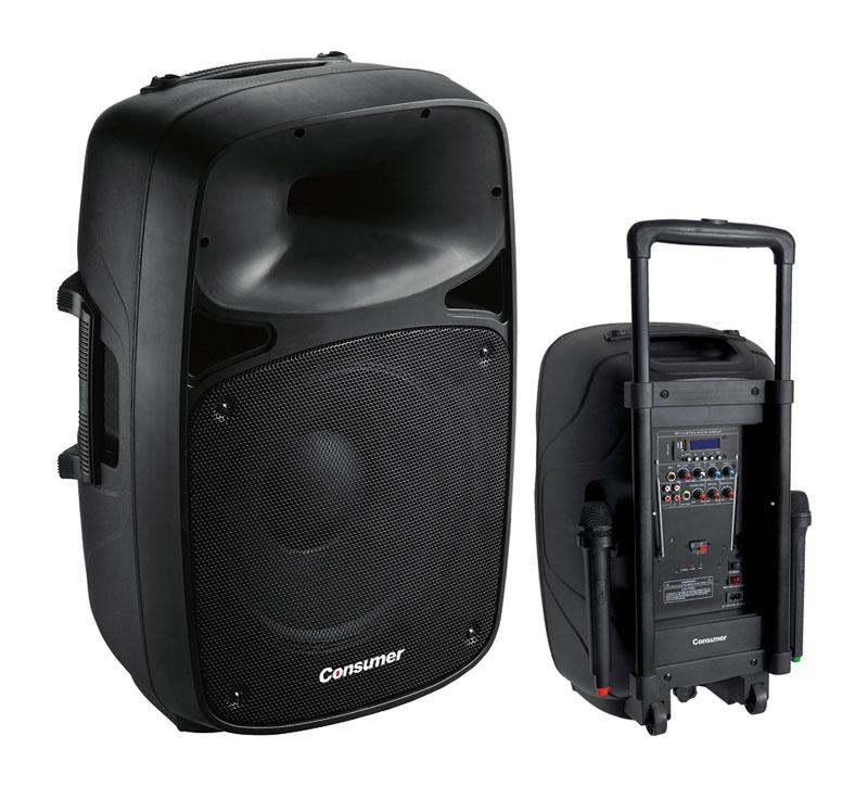 "Parlantes Bluetooth 15"", 1500W. c/ pedestal"